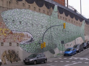 Le requin de la finance selon Blu. Photo Fish and Bicycles.com