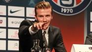 Beckham à la conférence de presse. Photo : DR