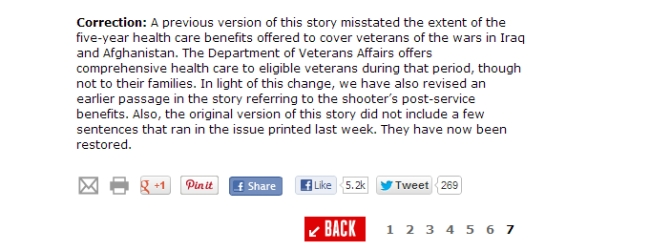 """""""Une précédente version de ce récit présentait de manière incorrecte la mesure qui offre aux vétérans des guerres d'Irak et d'Afghanistan cinq ans de prestation de soins de santé."""" Image : capture du site"""