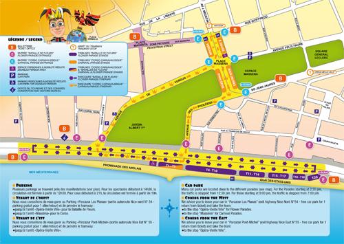 Le plan du parcours du Carnaval de Nice 2013. Photo: DR