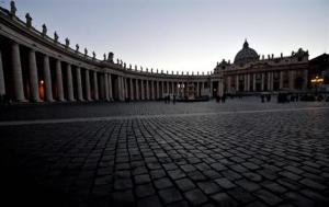 La Place de la Basilique Saint Pierre, déserte... Photo : DR