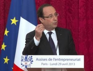La suppression du fichier «040» était une des mesures phares prises par François Hollande lors de l'édition 2013 des Assises de l'entrepreneuriat. Crédit: Michel Euler / AFP