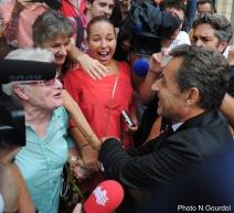 Nicolas Sarkozy a pu mesurer la joie de ses partisans de le rencontrer. (Photo N.Gourdol)