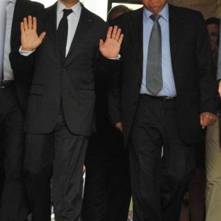 Nicolas Sarkozy et Bernard Brochand avaient le sourire à l'issue de leur entrevue à l'Hôtel de Ville. (Photo N.Gourdol)