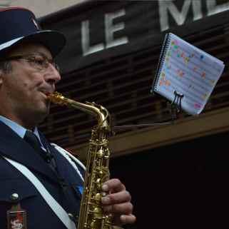 Le saxophoniste de l'orchestre d'harmonie de Megève. Crédit : V.V.
