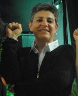 """Nadia El Fani, la co-réalisatrice avec Caroline Fourest de """"Nos Seins Nos Armes"""" sur les Femen, et s'est imposé comme une figure majeure de la 26e édition du Festival en tant que spécialiste du féminisme. (Photo Nathan Gourdol)"""