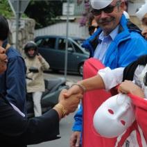 Christiane Taubira a salué la cause défendue de manière pacifique par RESF. (Photo Nathan Gourdol)