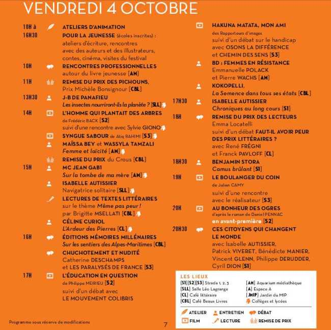 Programme du Vendredi 4 octobre