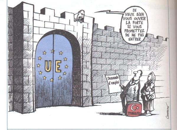 Un des nombreux dessins satiriques concernant la position de l'UE face à l'entrée de la Turquie. (Fichier Foucher)