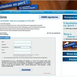 La pétition contre la hausse de la TVA a réuni près de 45 000 signatures pour le moment. Crédit : capture d'écran site internet