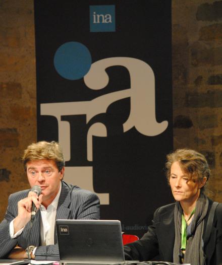 Olivier Porcherot et Marie-Luce Viaud, chercheurs à l'INA, ont présenté le grand projet OT Media. (Photo Nathan Gourdol)