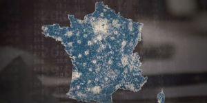 La carte des fragilités sociales avec en bleu, les zones fragiles socialement, qui représentent60% des français. (D.R.)