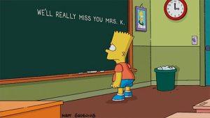 Bart rend hommage à Marcia Wallace, la doublure de sa maîtresse. Crédit : D.R.