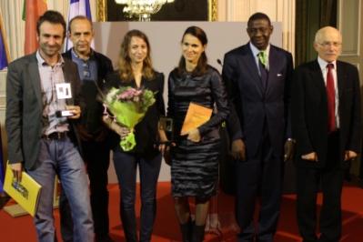 Les lauréats accompagnés de la Ministre de la Culture et de la Communication, Aurélie Filippetti, du Ministre de la Communication du Burkina Faso Alain Edouard Traoré et du Maire de Metz, Dominique Gros (Crédit: C.P)