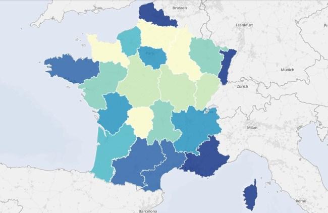 Carte des zones à haut risques d'inondations en France en 2013
