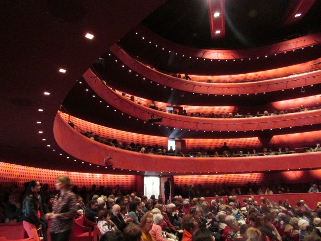 La foule de spectacteurs s'installe dans la salle Pierre Brasseur du TNN (Crédit photo : Camille Degano)