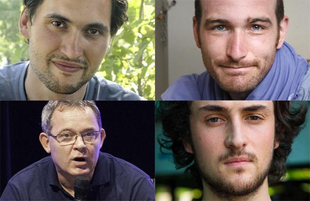 Ne les oublions pas : Pierre Torres (h.g.), Nicolas Hénin (h.d.), Didier François (b.g) et Edouard Elias (b.d) retenus en otage en Syrie (Crédit photo : 20 minutes)