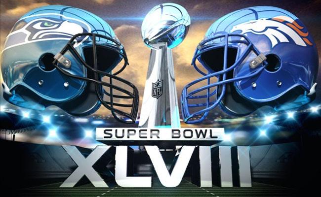 """""""L'affiche de la 48ème édition du Super Bowl à New York entre Seattle et Denver"""" (Crédit Photo : D.R.)"""