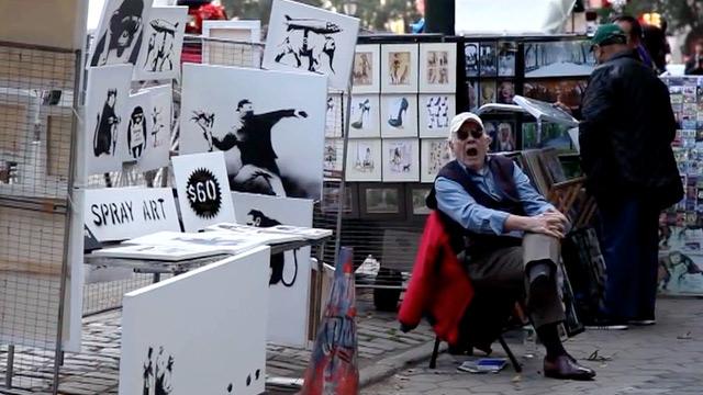 Le stand de Banksy, dans les rues de New York ( D.R.)