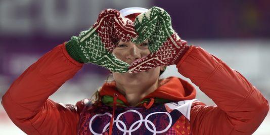 Darya Domracheva, une biathlète en or à Sotchi (Crédit photo : AFP/ODD ANDERSEN )