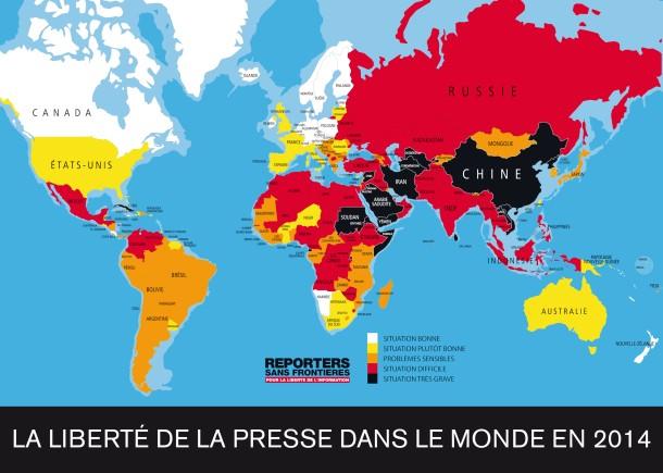 Carte de la liberté de la presse dans le monde en 2014. (Source: Reporters sans frontières)