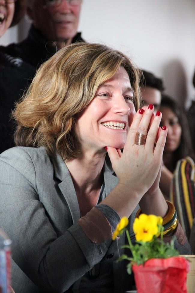 Nathalie Nougayrède, directrice du Monde, lors du débat sur l'avenir de la presse. (Crédits : Eloïsa Patricio)