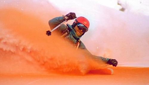 Freeride dans la neige orange. (Crédit photo : Jancsi Hadik/Jérémy Bernard/Alex Saut)