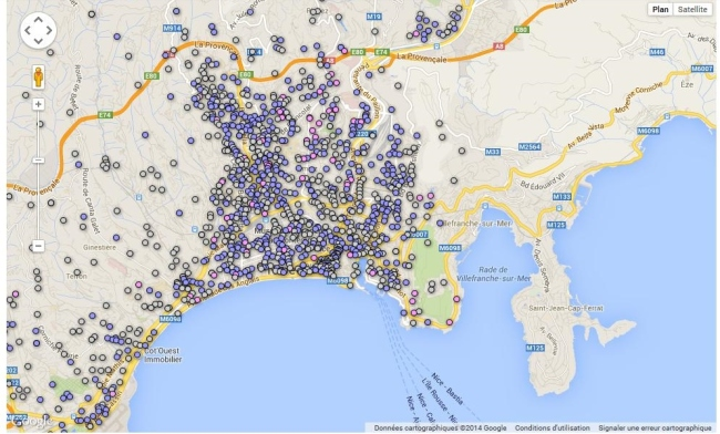 Carte de Nice des noms de rues attribués en bleu aux hommes (forcément), en rose aux femmes (forcément) et en gris les rues qui ne portent pas le nom d'une personnalité. (Source : nicematin.com)