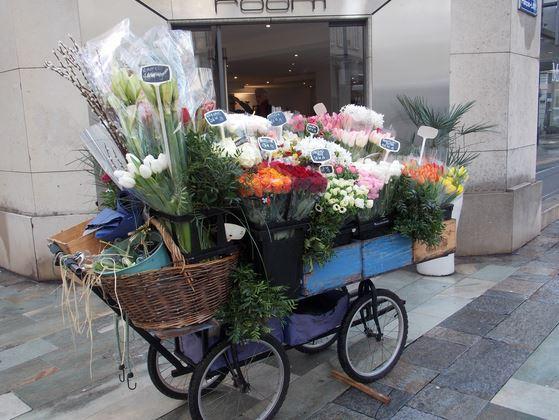 """""""Ma vie, elle est là"""", confie le fleuriste en désignant sa carriole. (Crédit Photo: Lara Pekez)."""