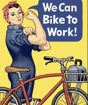 Une publicité pour effectuer les trajets du quotidien à vélo : « Nous pouvons pédaler pour aller au travail ! » Crédit Photo : Andy Singe