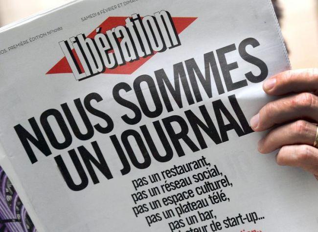 La fameuse « Une » de Libé datée du 8 février et qui a donné son nom au long combat des salariés du quotidien. (Crédits : Pierre Andrieu, AFP)