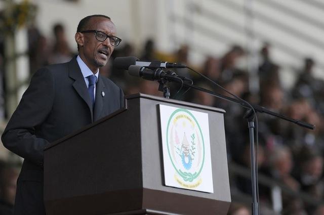 « Le président rwandais Paul Kagame pendant son discours pour le vingtième anniversaire du génocide,  le 7 avril 2014 à Kigali (photo : AFP/ Simon Maina) »