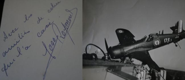 À droite, un avion qui s'écrase. Il a été immortalisé par Georges Martin, quand il était engagé dans l'armée. À gauche, une note humoristique du pilote de l'appareil. (Crédit Photo : Georges Martin)