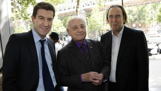 """Le """"trio BNP"""", de gauche à droite : Mathieu Pigasse, Pierre Bergé et Xavier Niel. (Crédit photo : Thomas Samson/AFP)"""