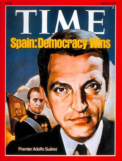 « Une du Time en juin 1977 montrant le président Suárez au premier plan, devant le roi Juan Carlos I et le général Franco » CP : huffingtonpost.es