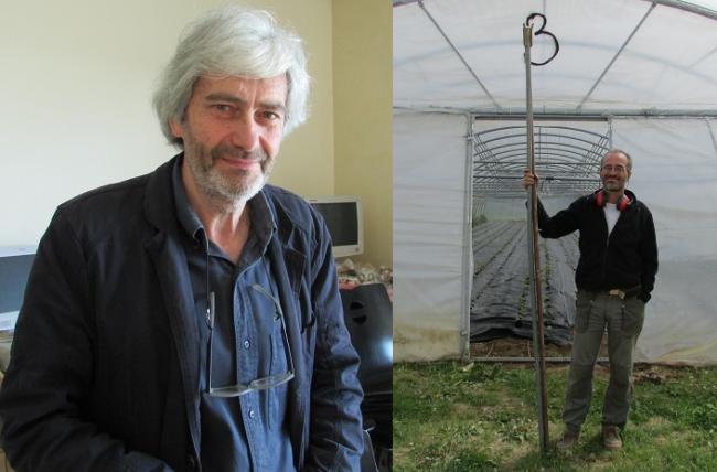 Roland Tavel, président des Jardins De Cocagne Mâcon, et Patrick Leclercq, maraîcher professionnel lors de la journée portes ouvertes du 25 avril (crédit : Camille Degano)