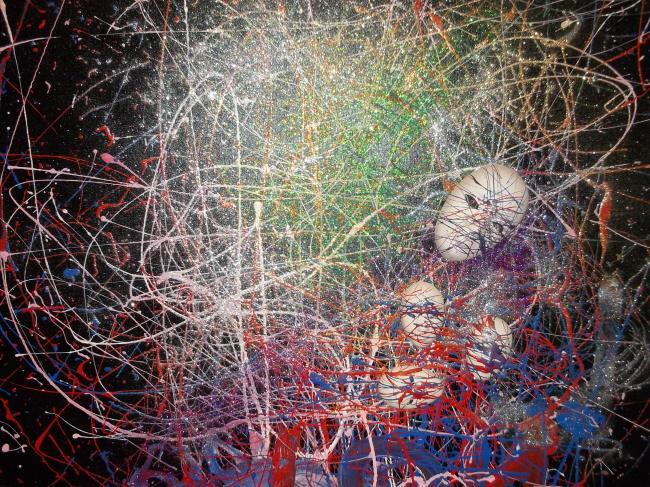 Une autre toile de cette jeune artiste... ''String City''. (Crédit photo : D.R.)