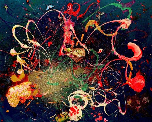 La toile ''night dance of fluttering butterflies'' signée par cette jeune artiste. (Crédit photo : D.R.)