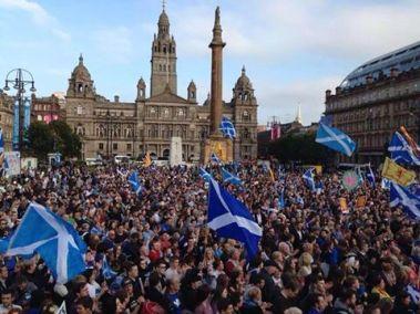 Les partisans du oui étaient nombreux à manifester en Ecosse (crédit : D.R.)