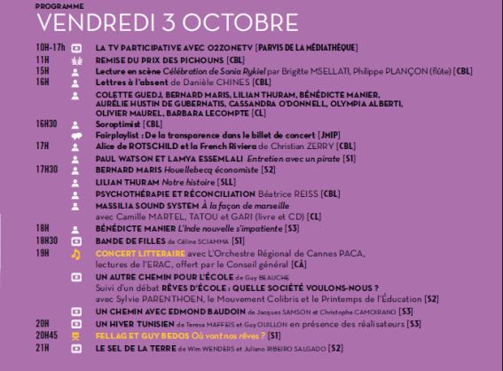 Programme du vendredi 3 octobre.