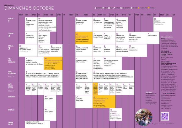 Programme du dimanche 5 octobre.