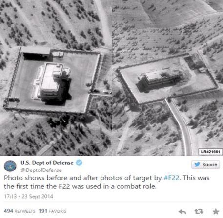 Photo montrant la cible avant et après le bombardement réalisé par un F22. C'est la première fois que le F22 est utilisé en situation de combat (Compte officiel Twitter du Département de la Défense des Etats-Unis).