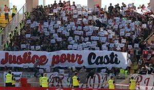 « Une banderole de soutien accrochée dans le centre de Montpellier» (crédit photo : page facebook – Justice Pour Casti)