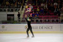 Maria Vartmann et Aaron Van Cleave (Allemagne) ont terminé 3è dans la catégorie patinage par couple (crédit photo : Eva Garcin)