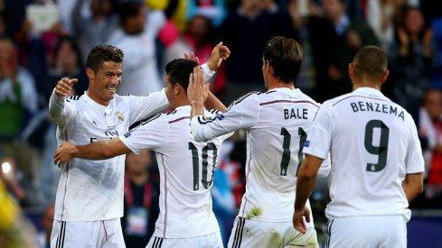 Avec Cristiano Ronaldo et Gareth Bale, Karim Benzema et James Rodriguez sont les deux autres stars offensives du Réal Madrid. (Crédit photo : SkySport)