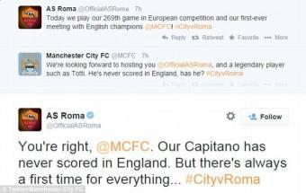 tweet M City AS Roma