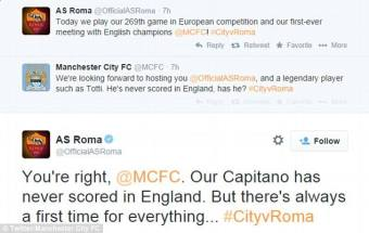 tweet M City AS Roma