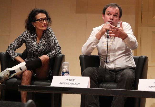 Sophie Bramly, responsable de la web TV du Parisien, et Thomas Baumgartner, cofondateur du Live Magazine. (Crédit photo : Manon David)