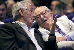 Jacques Peyrat et Jean-Marie Le Pen. L'ancien maire niçois surnommait Teresa Maffeis « la punaise verte ». Crédit Photo : afp.com/Valery Hache