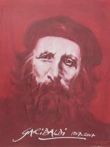 Garibaldi, un des portraits d'Ernest Pignon-Ernest pour l'exposition « Ces étrangers qui ont fait la gloire de Nice ».